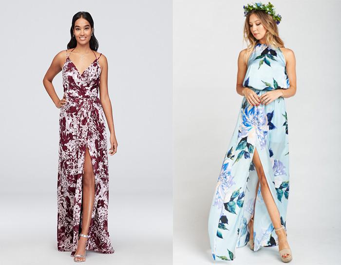 floral causal bridesmaid dresses