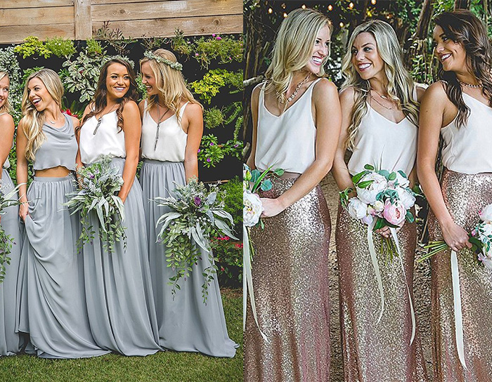 two pieces causal bridesmaid dresses