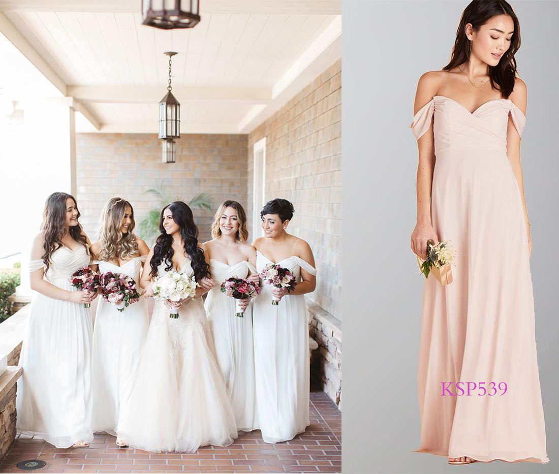 all white wedding bridesmaid dresses