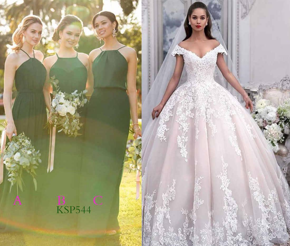 chiffon bridesmaid dresses for princess wedding gowns