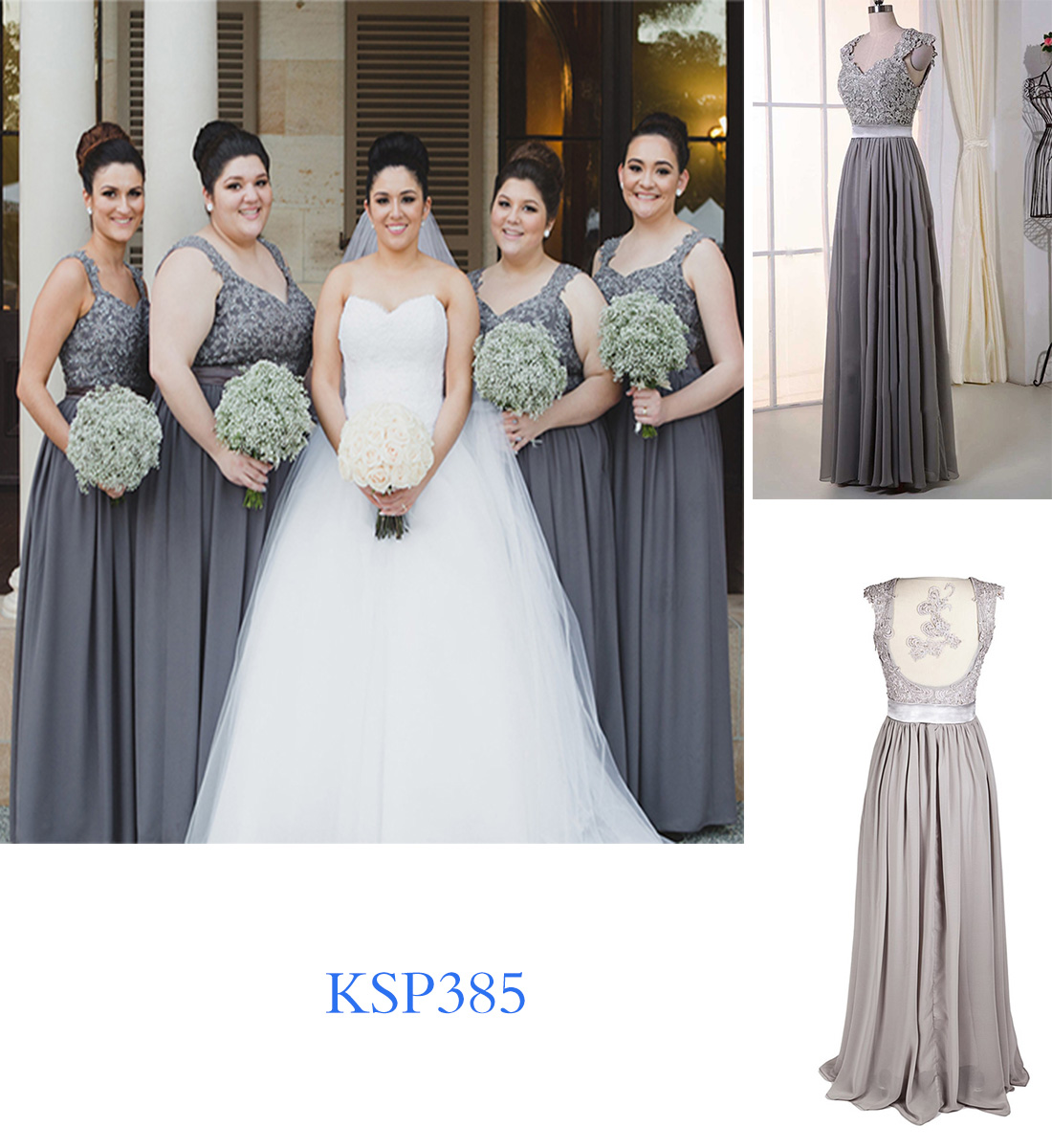 long lace matching bridesmaid dresses