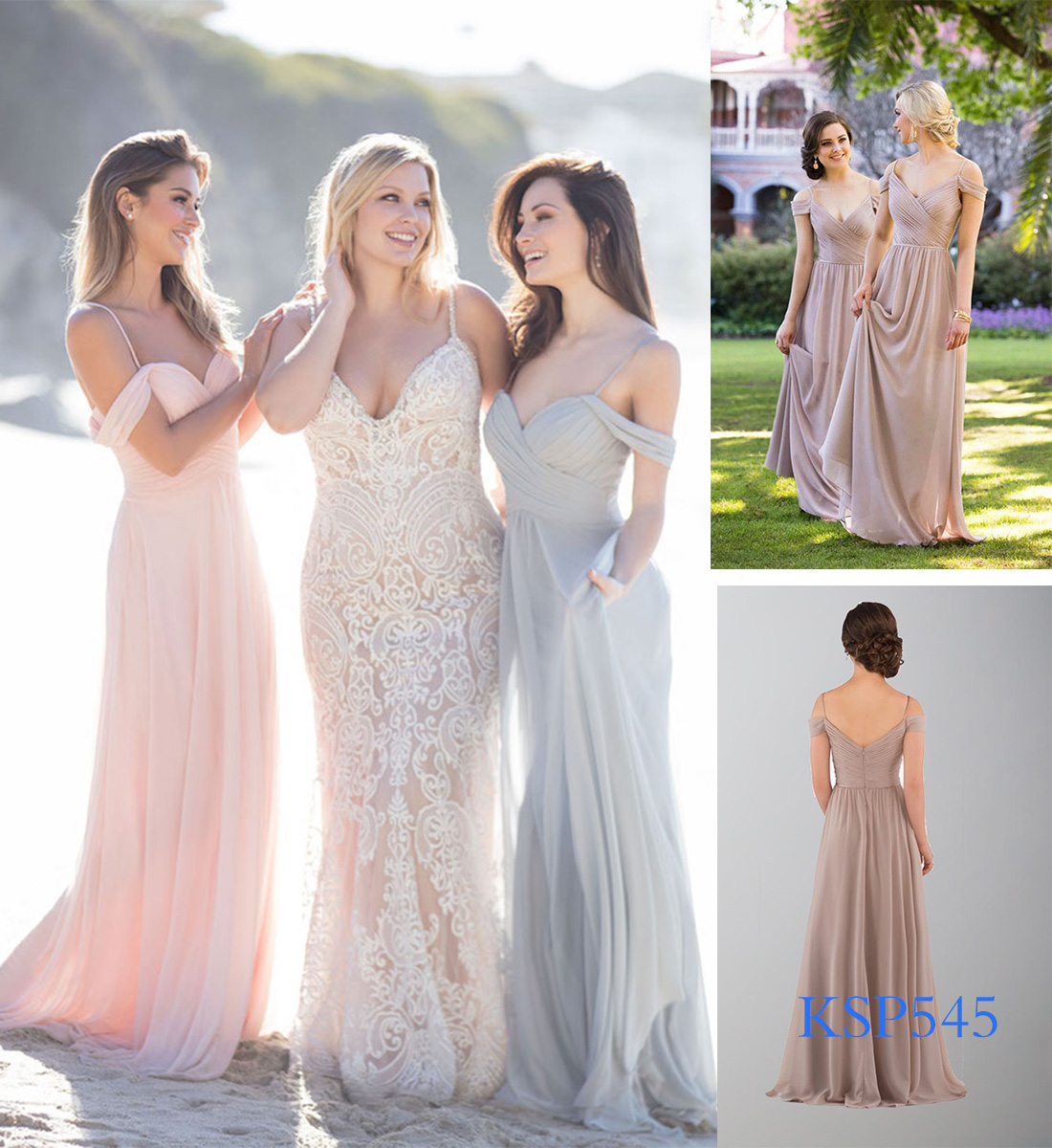 mismatched bridesmaid dresses with straps