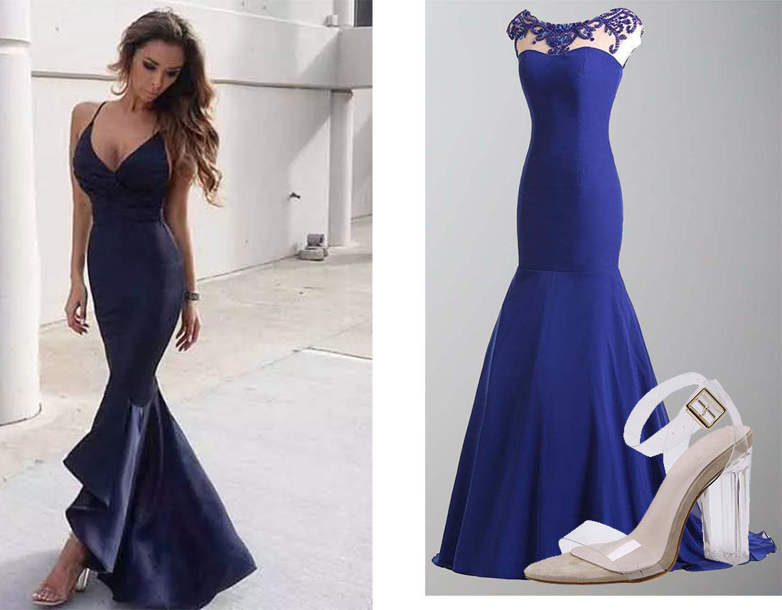 Transparent Block Shoes for fit and flare navy prom dresses