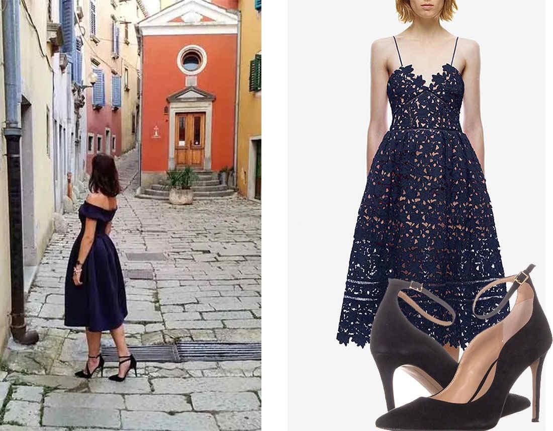black ankle strap stilettos for t-length blue prom dress