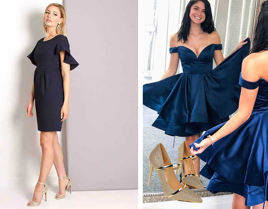 golden shoes of short navy blue prom dresses