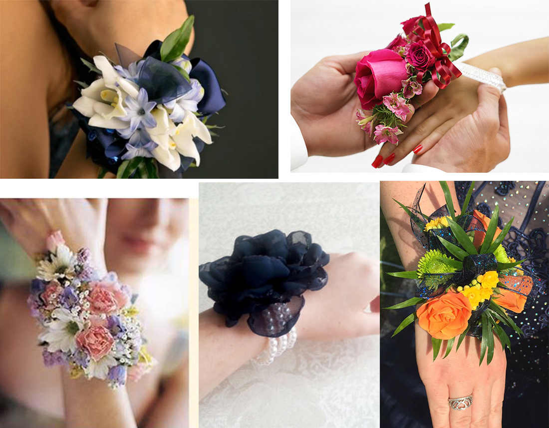 navy blue prom dresses matching corsage