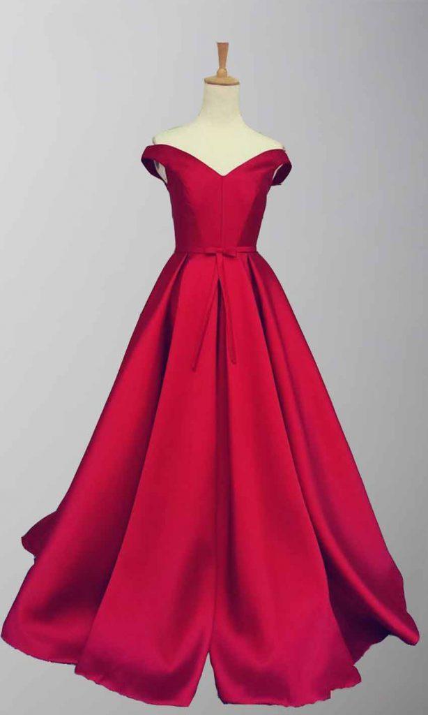 Red Satin Off Shoulder Full Length Prom Gowns KSP456