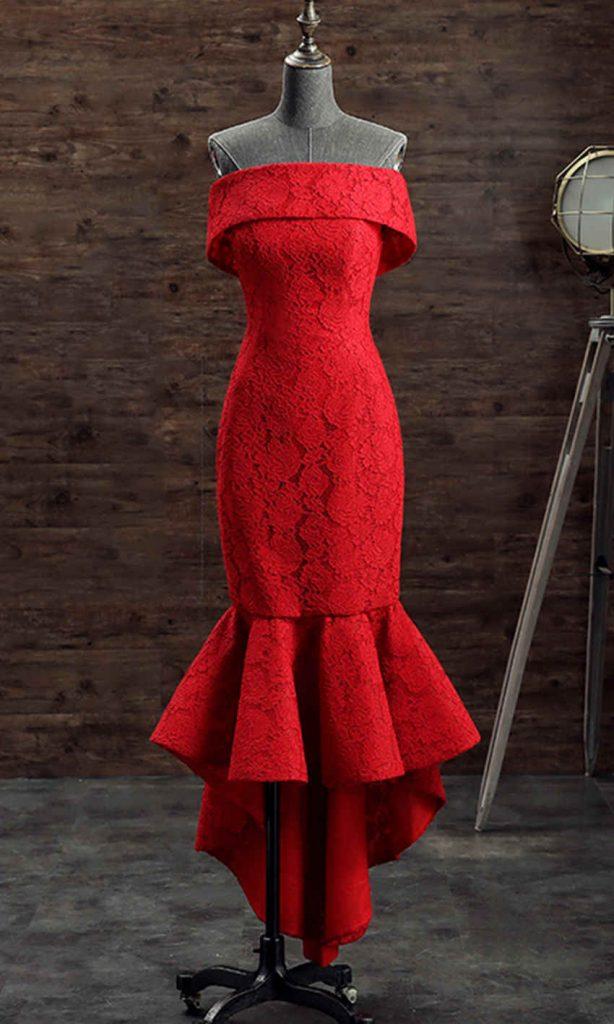Off Shoulder Red Lace Short Mermaid Prom Dresses KSP492
