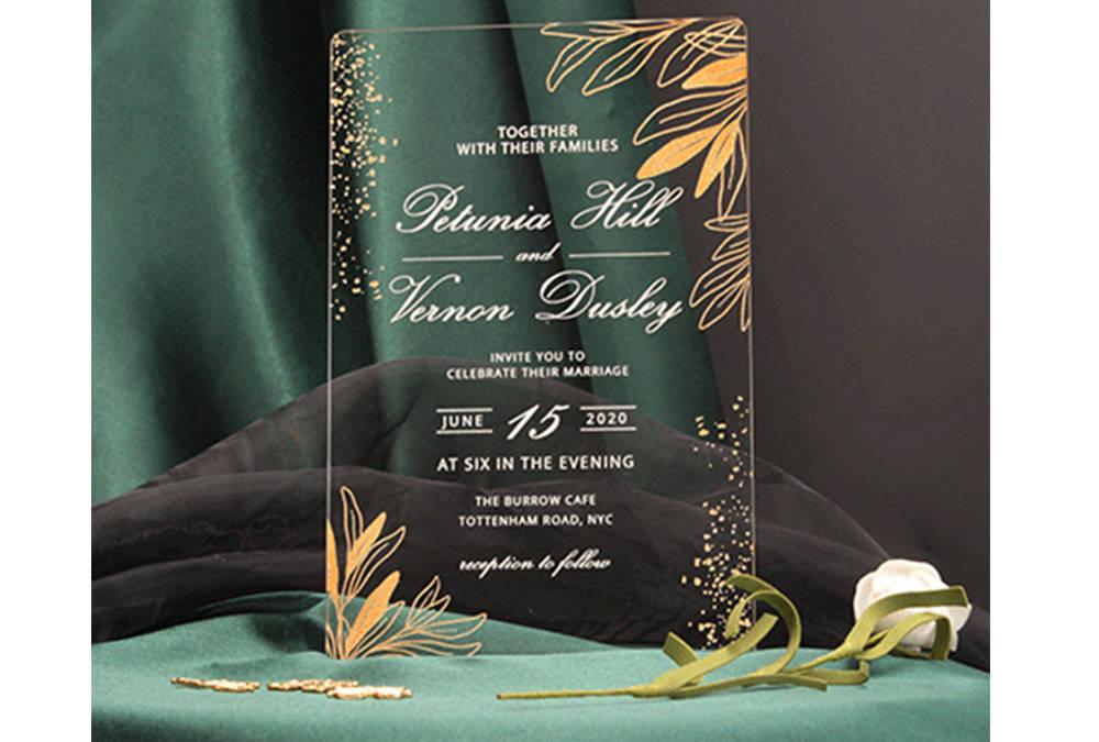 Golden acrylic wedding invitations