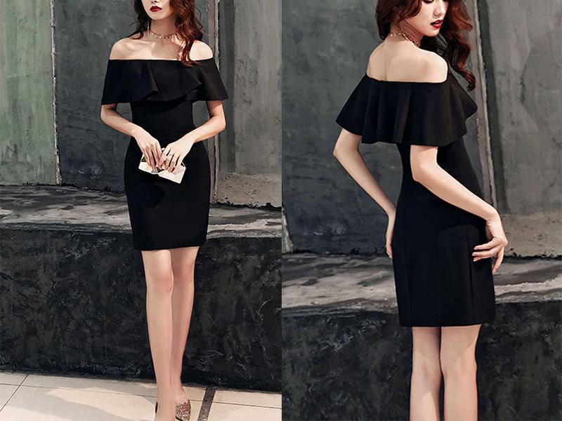 Convertible bodycon little black dresses KSP555